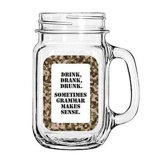 Vintage Glass Mason Jar Cup Mug Lemonade Tea Decor Painted Funny- Drink, Drank, Drunk. Sometimes Grammar Makes Sense.