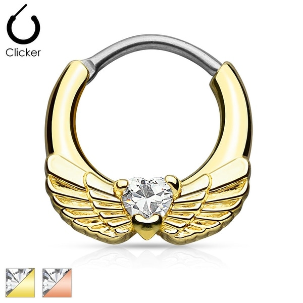 Angel Wings with Heart CZ Gold IP 316L Surgical Steel Septum Clicker (Sold Ind.)