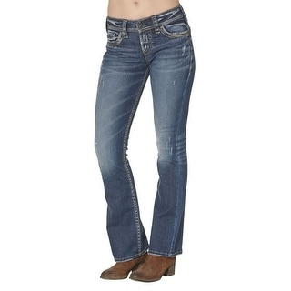 Silver Jeans Denim Womens Suki Bootcut Distressed Dark L93719SDI367