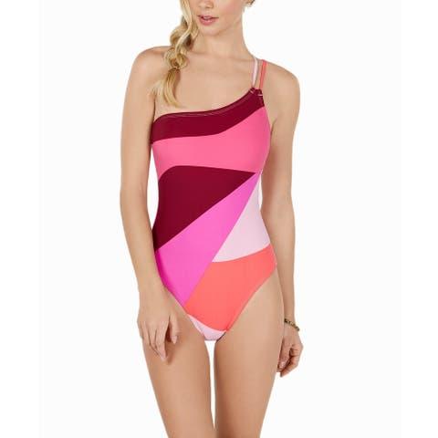 La Blanca Women's Colorblocked Corset-Back One-Piece Swimsuit, Pink, 12