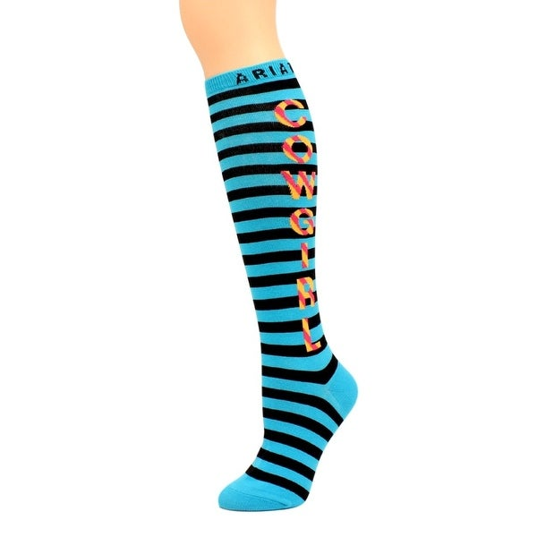 Ariat Western Socks Womens Knee Cowgirl One Size Turquoise - One size