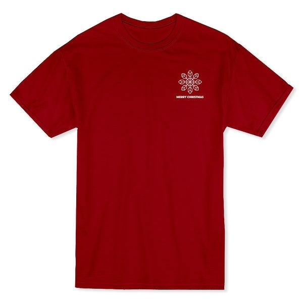 326c5274 Merry Christmas Text Snowflake Pocket Graphic Men's Cardinal Red T-shirt