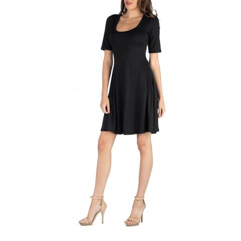 24seven Comfort Apparel A Line Knee Length Dress with Elbow length Sleeves R002616