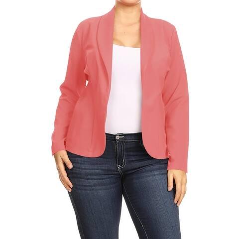 Women's Solid Plus Size Casual Long Sleeve Blazer Outerwear Jacket