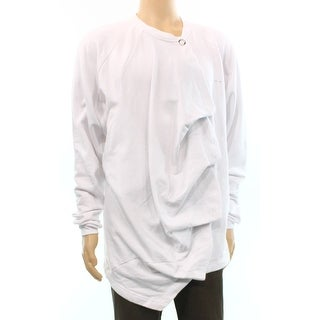 Publish NEW White Mens Size XL Long Line Snap Closure Crewneck Sweater