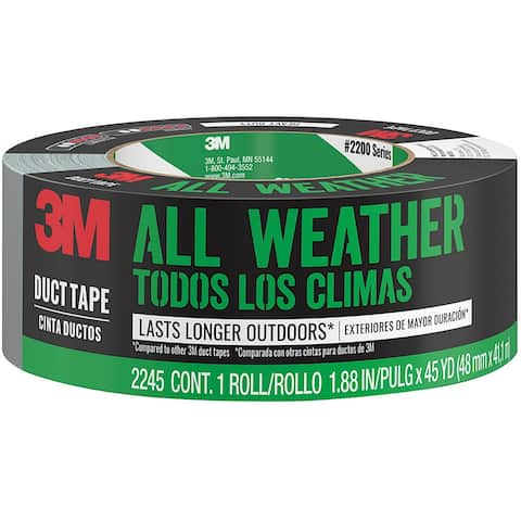 """Scotch 2245-A Heavy Duty All-Weather Duct Tape, 1.88"""" x 45 Yd, Gray/Silver"""