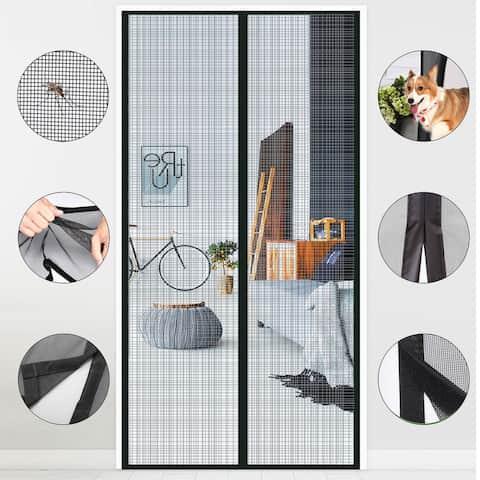 "AGPtek Magnetic Screen Door with Durable Fiberglass Mesh Curtain and Full Frame Hook Loop Fits Size 37""x82""Black - S"