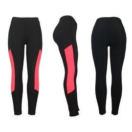 Women's Athletic Fitness Sports Yoga Pants Large/X-Large-Black/Pink
