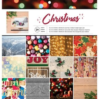 """American Crafts Single-Sided Paper Pad 12""""X12"""" 24/Pkg-Christmas Photo Real, 12 Designs/2 Each"""