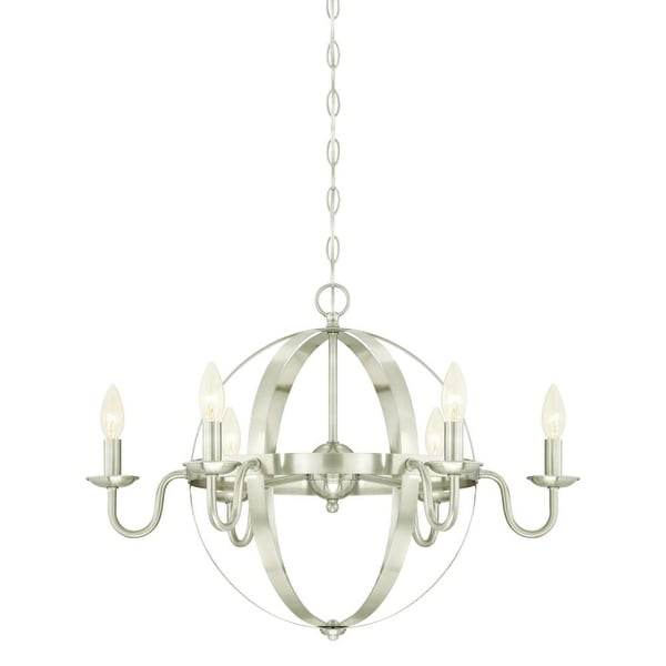"Westinghouse 6303100 Brixton 6 Light 25"" Wide Single Tier Candle Style Chandelier - Brushed nickel"
