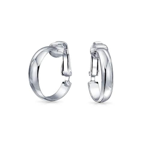 Basic Simple Polished 925 Sterling Silver Clip On Hoop Earrings For Women Brass Clip Non Pierced Ears .75 Dia