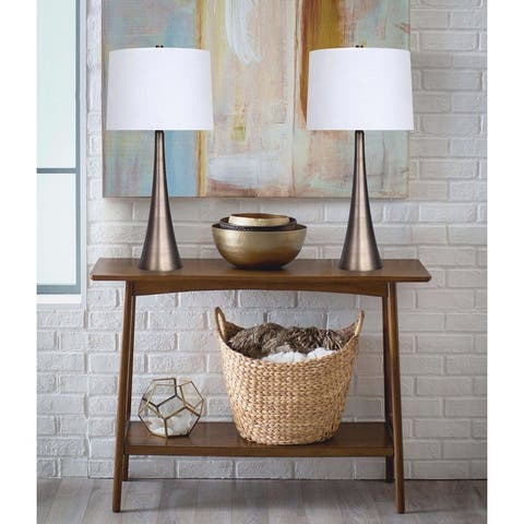 """29.5"""" Metal Table Lamp Set with Tapered Curve Design and Off-White Linen Drum Shades"""
