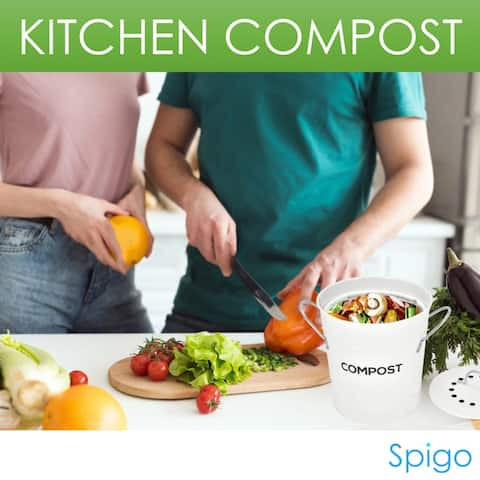 Spigo Steel Kitchen Compost Bin With Vented Charcoal Filter and Bucket, 1 Gallon