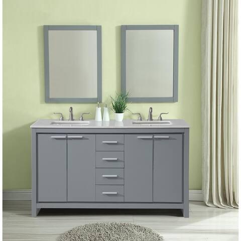 Pennsport Contemporary Sleek Bathroom Vanity Cabinet Set with Marble Top