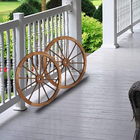 2pcs 30/24-Inch Old Western Style Garden Art Wall Decor Wooden Wagon Wheel