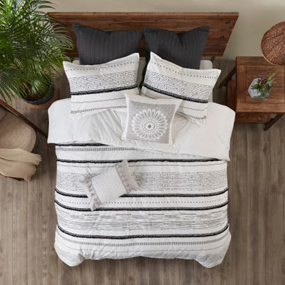 Nea Cotton Printed Duvet Cover Set with Trims by INK+IVY