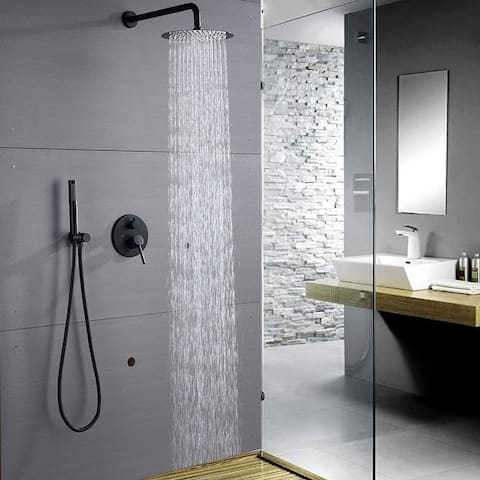 """Round Shower Combo Set with 10"""" Rain Shower head and Handheld Shower Head Set with Pressure Balancing Valve"""