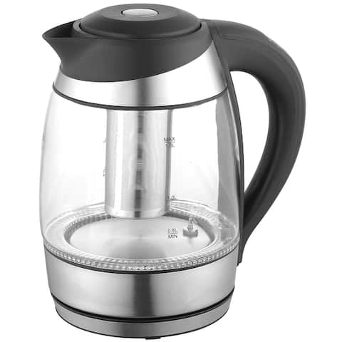 Culinary Edge ET1750 Electric Glass Digital Tea & Water Kettle with Tea Infuser, Black & Stainless, 1.8 Liter