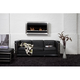 Bio Blaze BB-SQL2 Square Wall Mount Fire Place, Large - Silver