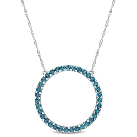Miadora 10k White Gold London-Blue Topaz Circle of Life Birthstone Necklace - 25.6 mm x 17 inch x 25.6 mm