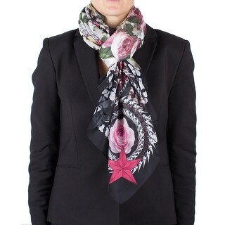 Givenchy Women's Chain Border Floral Pattern Cotton Scarf Large