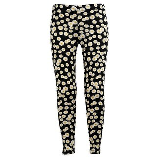 Girls Stretchy Leggings Trousers Black Daisy