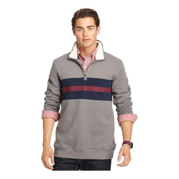 IZOD Mens Quarter-Zip Striped Sweatshirt, Grey, Small. Opens flyout.