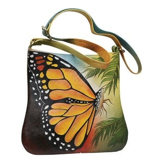 Link to Handpainted Butterfly Shoulder Bag - Leather Crossbody Strap Lined Purse - Multi - One Size Similar Items in Shop By Style