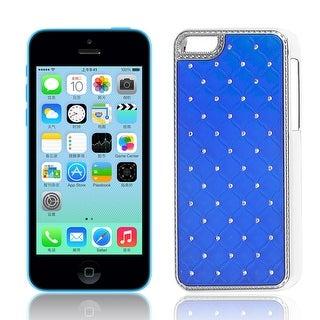 Unique Bargains Glitter Diamante Hard Plastic Back Case Cover Dark Blue for Apple iPhone 5C