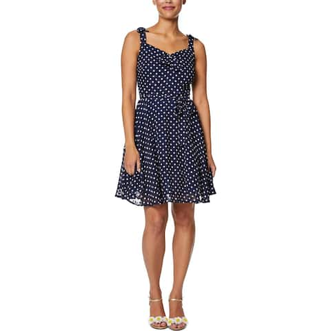 Betsey Johnson Womens Petites Mini Dress Chiffon Polka Dot - Navy Seals Dot