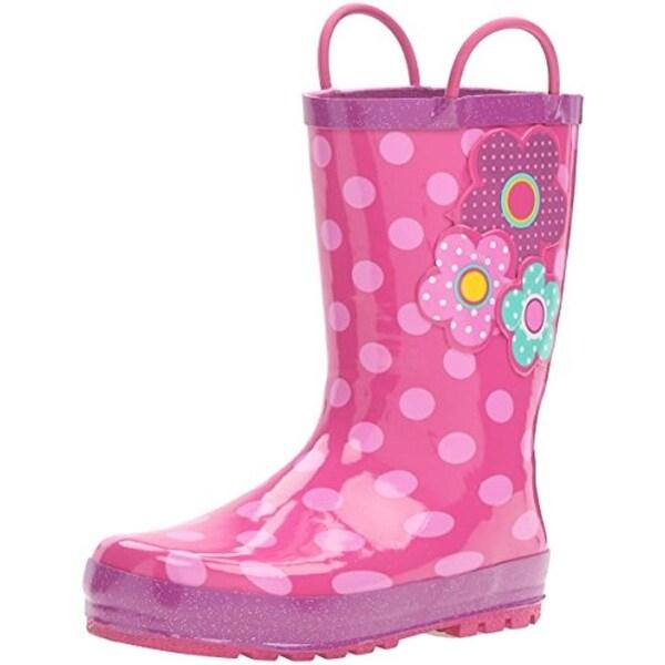 Western Chief Girls Flower Cutie Rain Boots Polka Dot Rubber - 8 medium (b,m) toddler