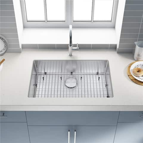 304 Premium Stainless Steel Single Bowl Undermount Handmade Kitchen Sink Combo With Faucet