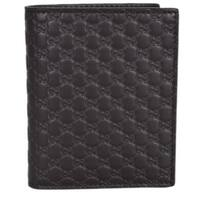 """Gucci 292533 Men's Brown Leather Micro GG Guccissima Vertical Bifold Wallet - 3 7/8"""" x 4 3/4"""""""