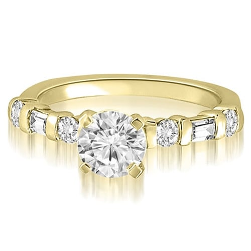 1.35 cttw. 14K Yellow Gold Round And Baguette cut Diamond Engagement Ring