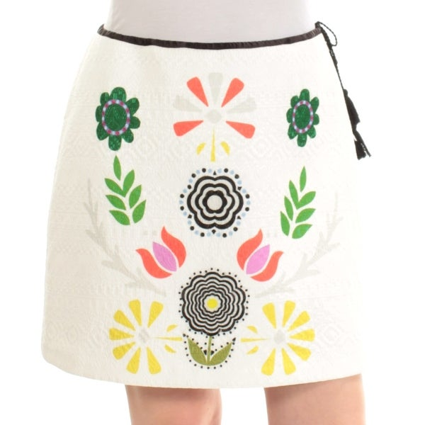 CYNTHIA ROWLEY Womens Ivory Floral Above The Knee A-Line Skirt Size: M