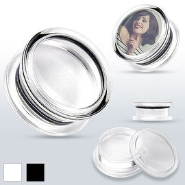 """""""Add Your Own Image"""" Acrylic Double Flared Screw-Fit Plug (Sold Individually)"""