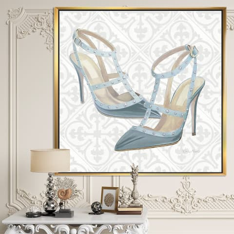 Designart 'Glam cosmetics Blue Shoes' Posh & Luxe Framed Canvas - Grey