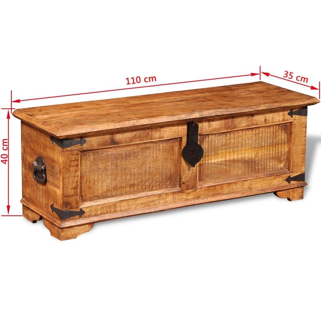 vidaXL Set of 2 Mango Wood Blanket Toy Storage Chests Boxes Trunks Home Decor
