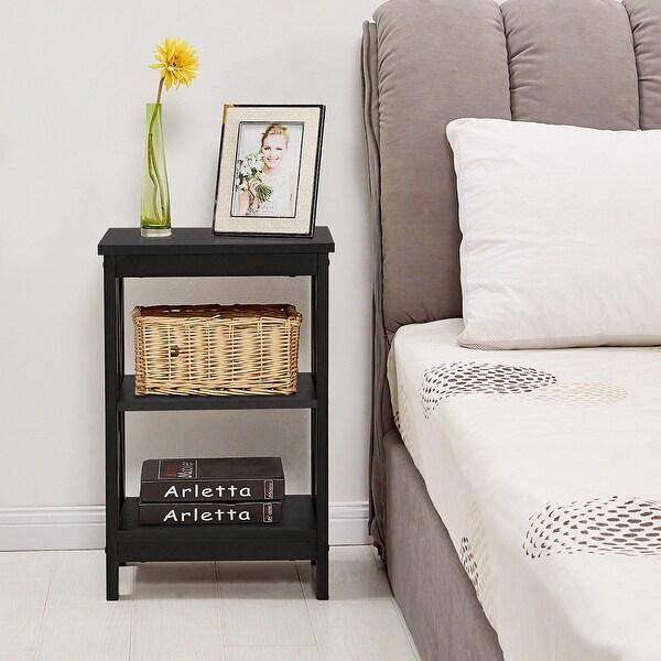 VECELO 3-Tier End Table/Bedside Table/Sofa Table/Coffee Table X-Frame