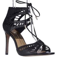 Dolce Vita Henlie Peep-Toe Lace-Up Pumps, Black Leather