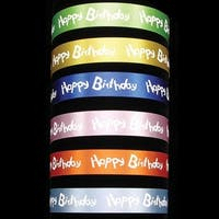 "Light Blue Satin ""Happy Birthday"" Print Craft Ribbon 1"" x 132 Yards"