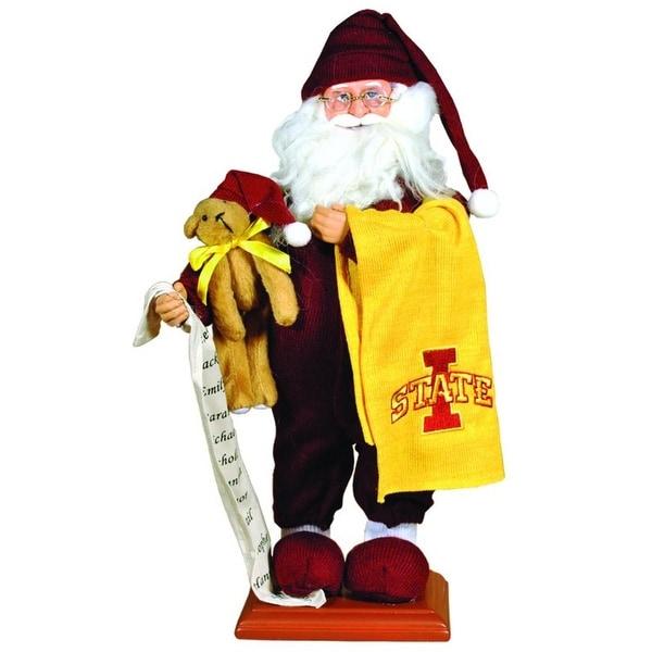 "15"" NCAA Iowa State Cyclones Pajama Santa Claus Table Top Christmas Decoration"