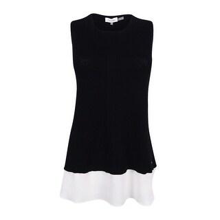 Calvin Klein Women's Sleeveless Layered-Look Sweater - Black