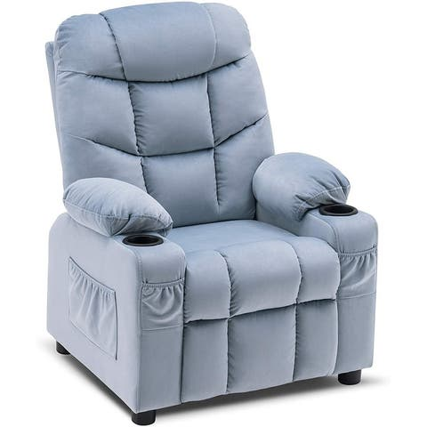 Mcombo Big Kids Recliner Chair with Cup Holders for Boys and Girls Room, 2 Side Pockets, 3+ Age Group, Velvet Fabric 7355