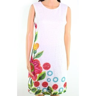 Desgual NEW Bright White Womens Size 4 Printed Floral Lace Shift Dress