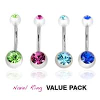 4 Pcs Pack of Assorted CZ Color Stainless Steel Navel Belly Button Ring with Double CZ Clear UV Balls