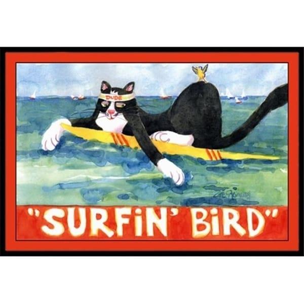 Carolines Treasures 6051JMAT 24 x 36 in. Black And White Cat Surfin Bird Indoor Or Outdoor Doormat
