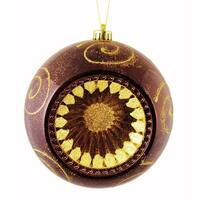 Mocha Brown Retro Reflector Shatterproof Christmas Ball Ornament 8