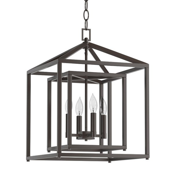 """Park Harbor PHPL5114 17"""" Wide 4-Light Single Tier Candle Style Chandelier with Lantern Style Shade - N/A"""