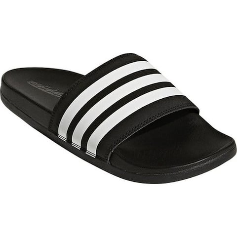 adidas Women's Adilette Cloudfoam Plus Stripes Slide Sandal Core Black/FTWR White/Core Black